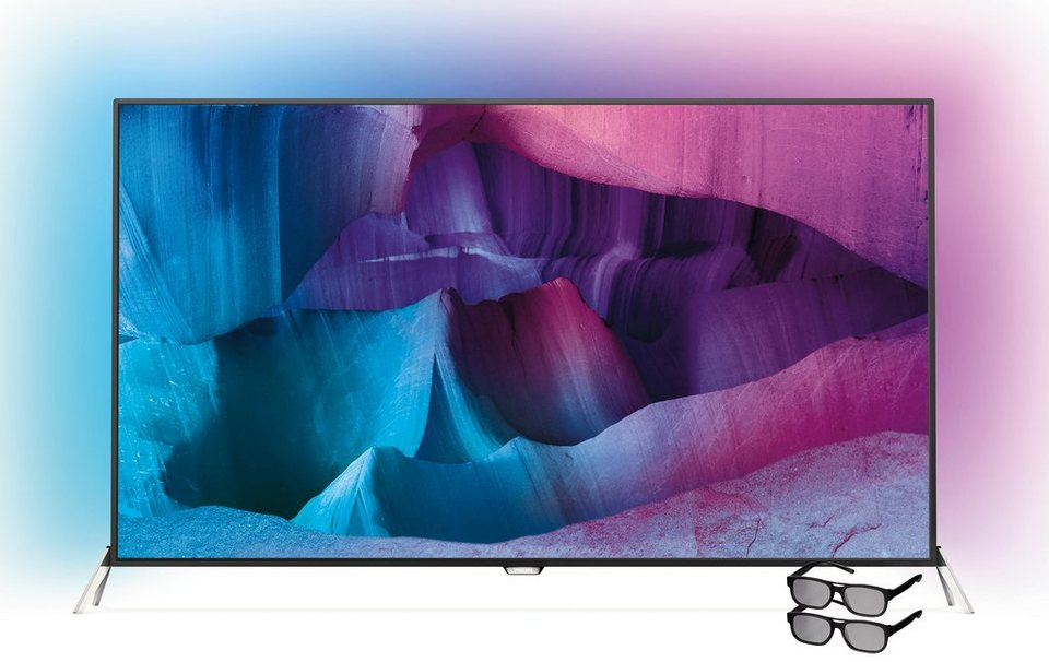 Philips 48PUS7600, 121 cm (48 Zoll), 2160p (4K Ultra HD) Ambilight LED Fernseher in silberfarben/schwarz