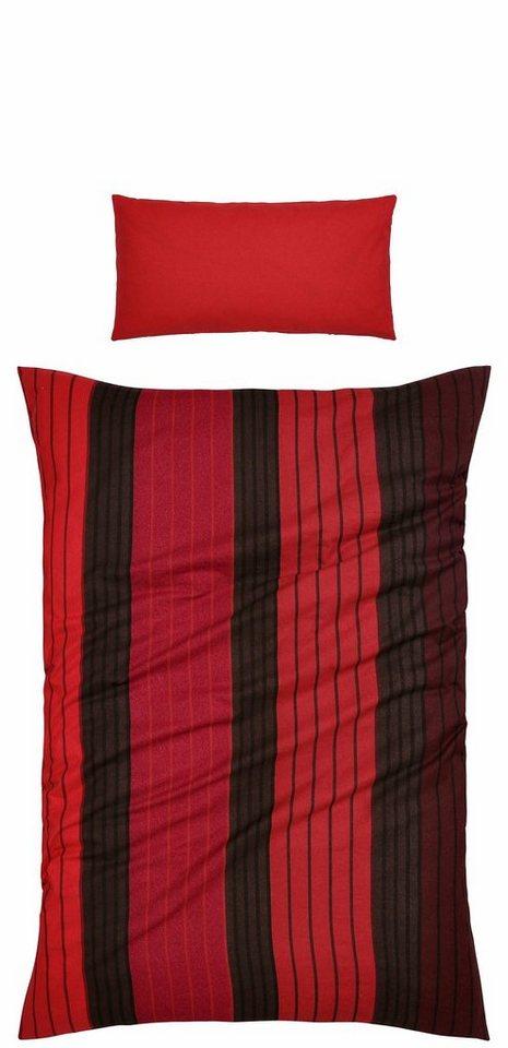 Bettwäsche, Ecorepublic Home, »Tommy«, mit schmalen Streifen in rot