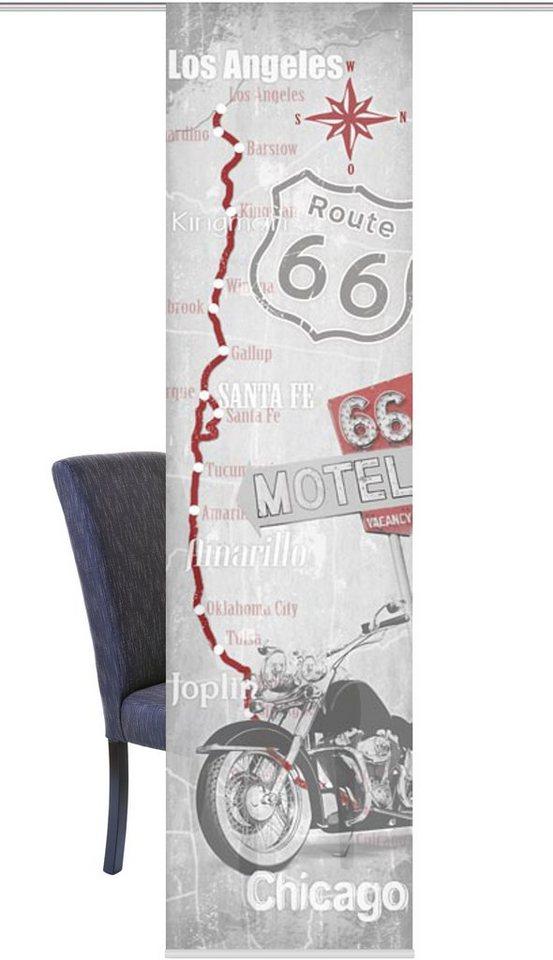Schiebegardine, Home Wohnideen, »Route 66« (1 Stück mit Zubehör) in grau-rot