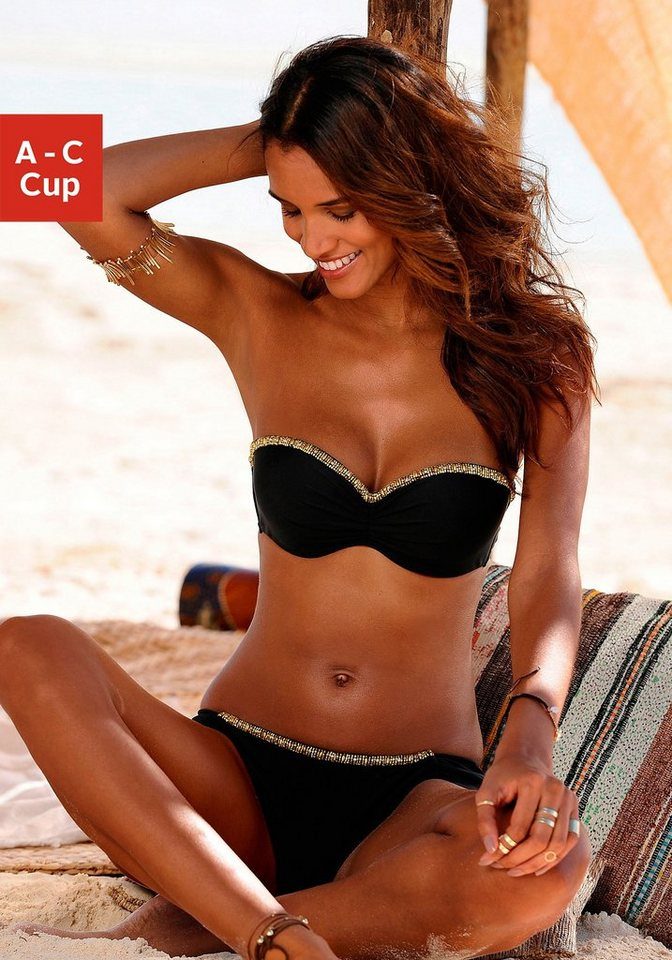 Bügel-Bandeau-Bikini, LASCANA in schwarz