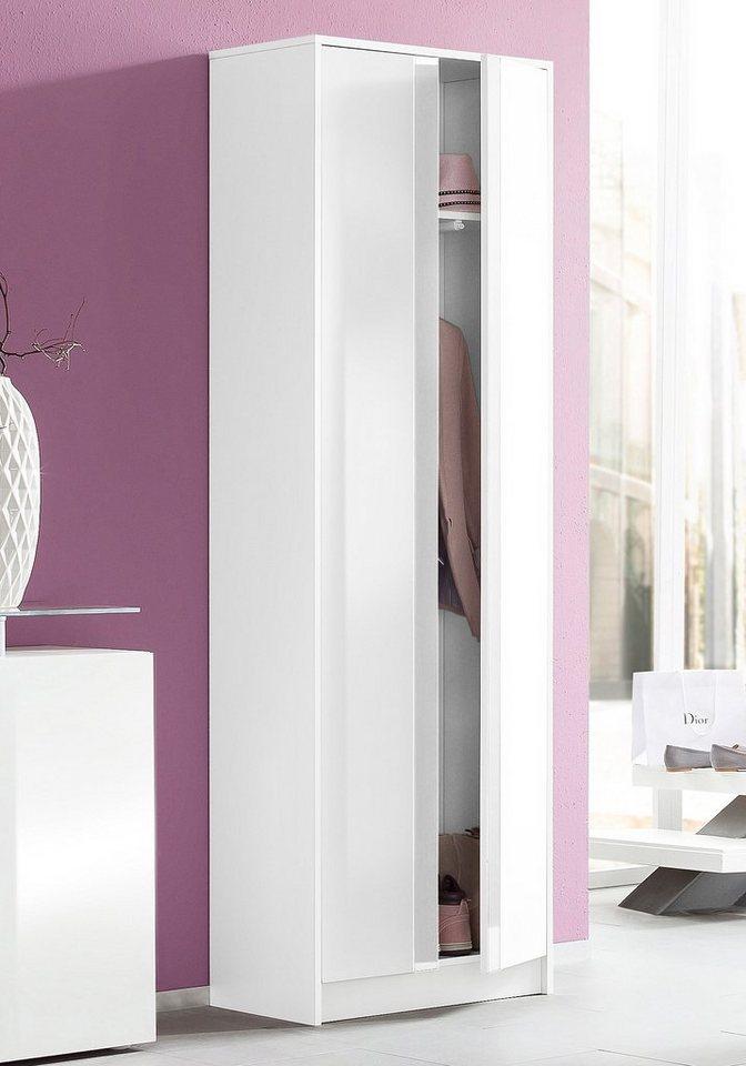 Garderobenschrank »Juva« in weiß-weiß Hochglanz