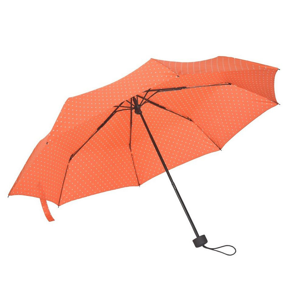 Happy Rain Flash Super Mini AC Taschenschirm 25 cm in dots orange