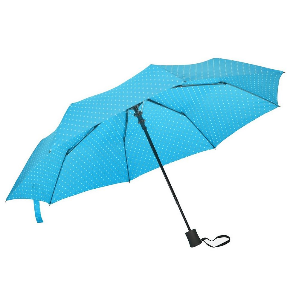 Happy Rain Flash Mini AC Taschenschirm 30 cm in dots hellblau