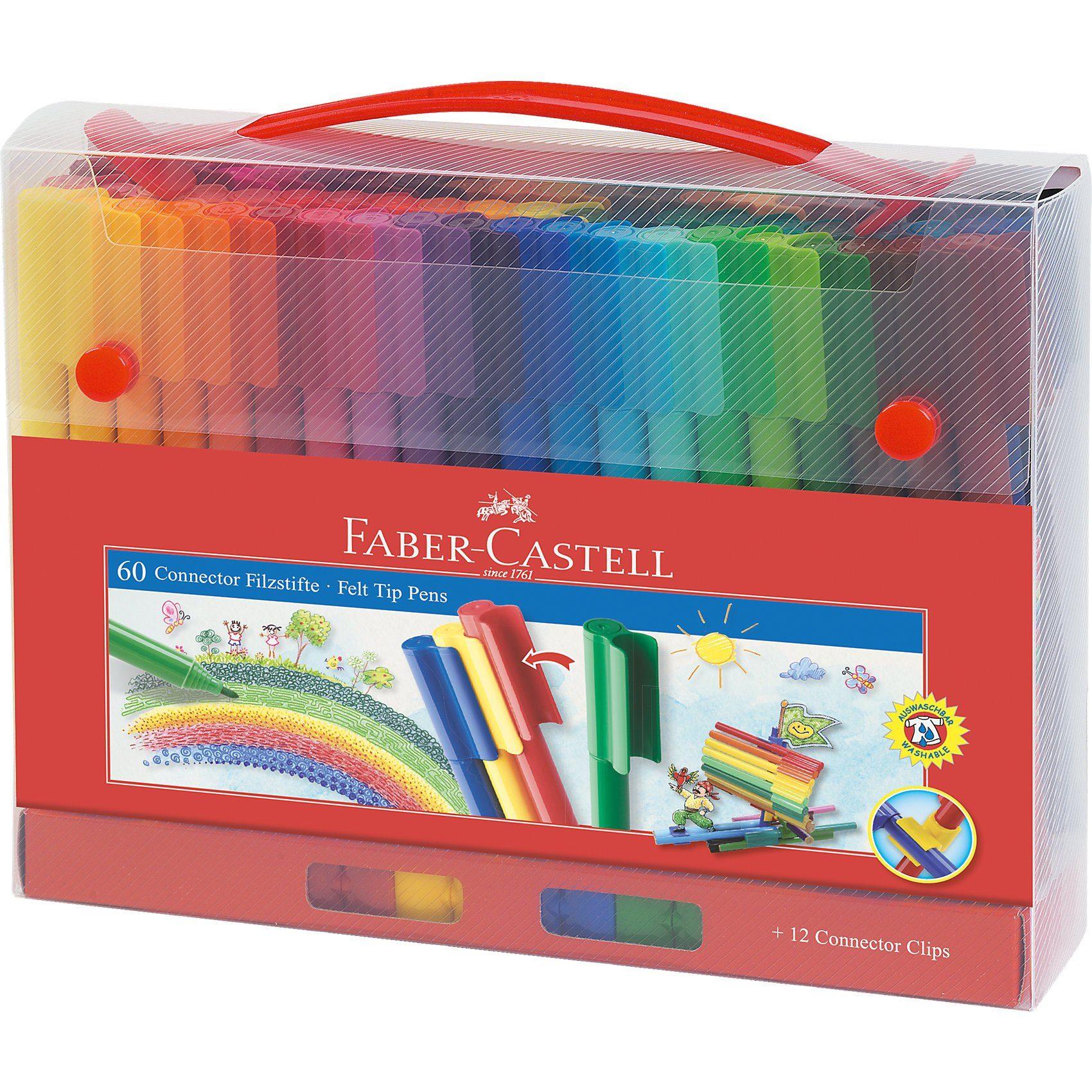 Faber-Castell CONNECTOR Pen Filzstifte für Unterwegs, 60 Farben& Zubehör
