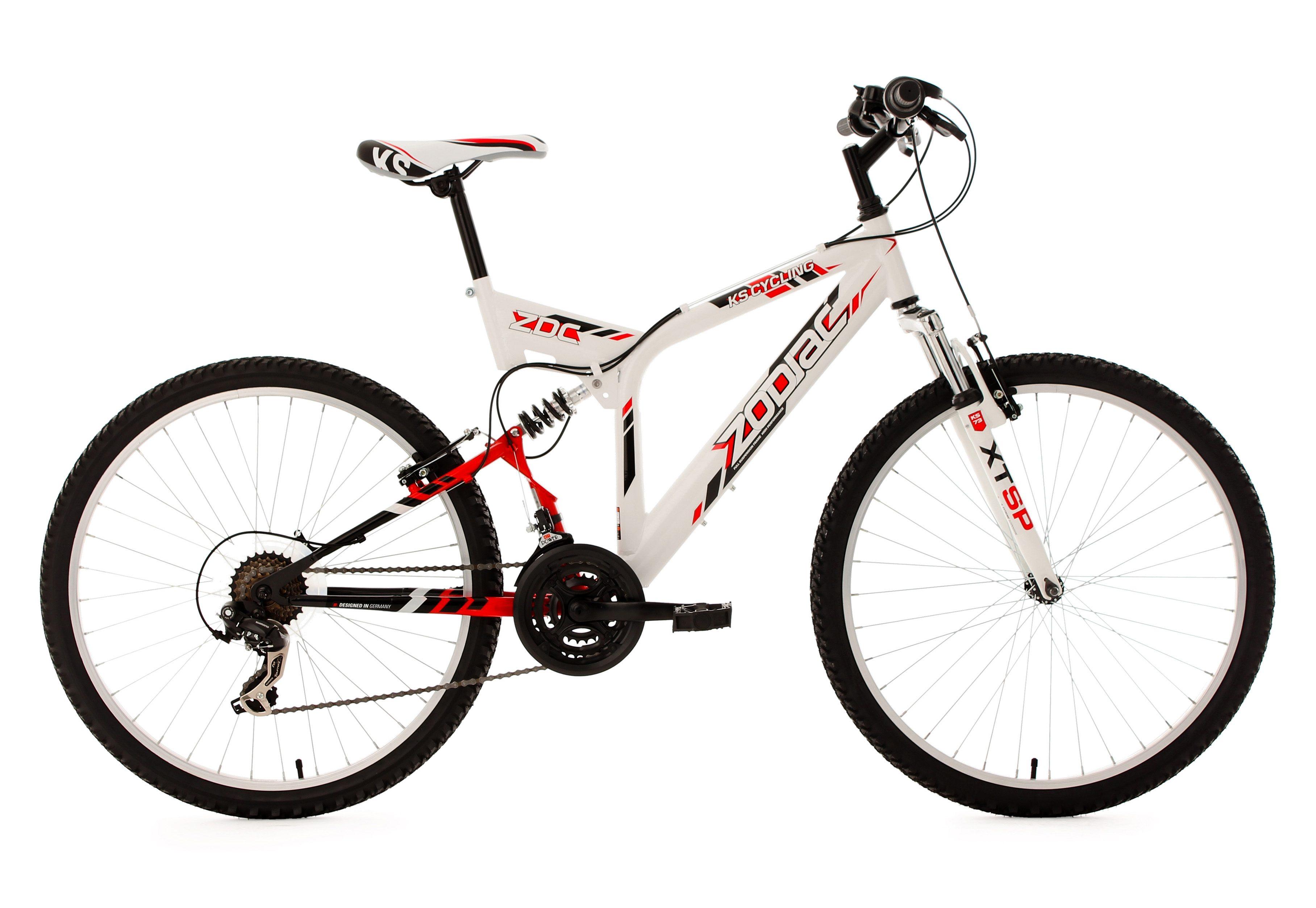 Fully-Mountainbike, 26 Zoll, 21 Gang Kettenschaltung, weiß, »Zodiac«, KS Cycling