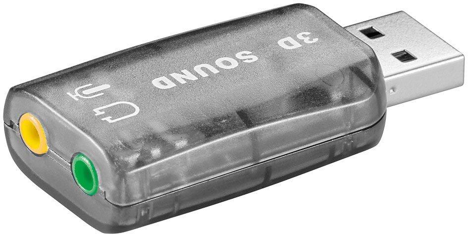goobay USB 2.0 Soundkarte / Audio/Headset Adapter »USB A Stecker > 2x 3,5mm Mono Buchse«