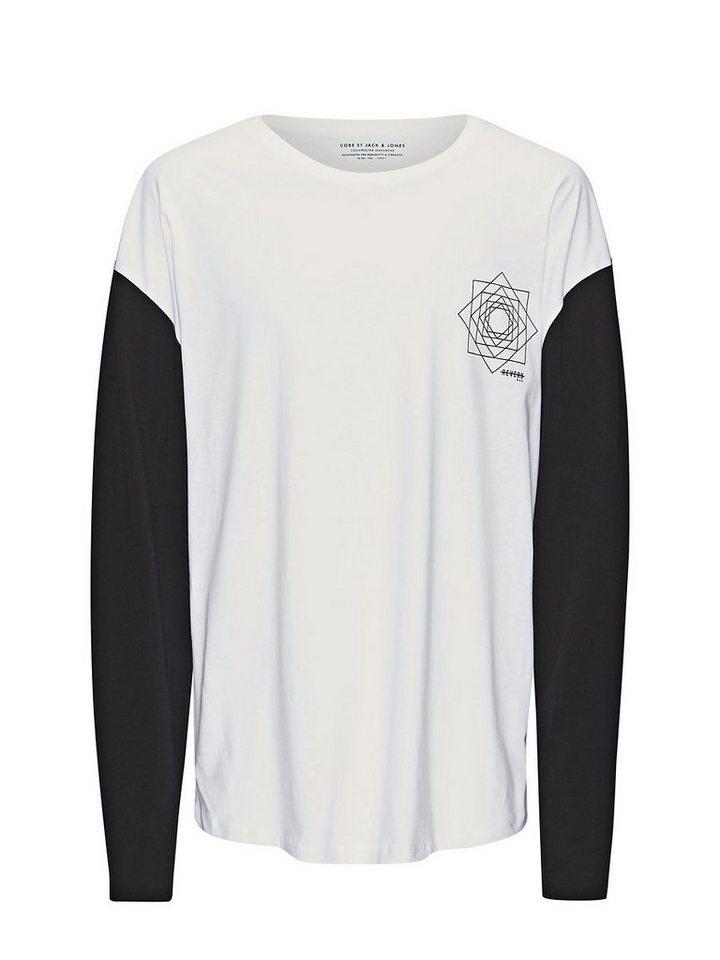 Jack & Jones Colour-Blocking T-Shirt mit langen Ärmeln in White