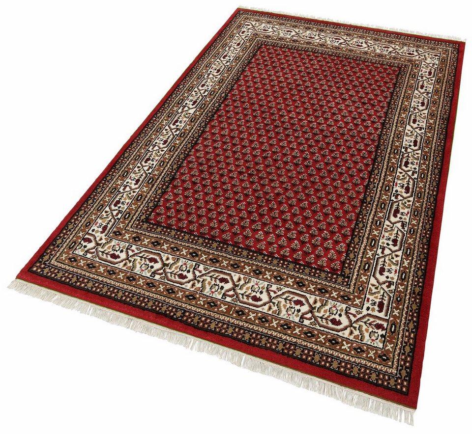Teppich, Parwis, »Indo Mir Ghalip«, 4kg/m², 75 000 Knoten/m², handgeknüpft, Wolle in rot