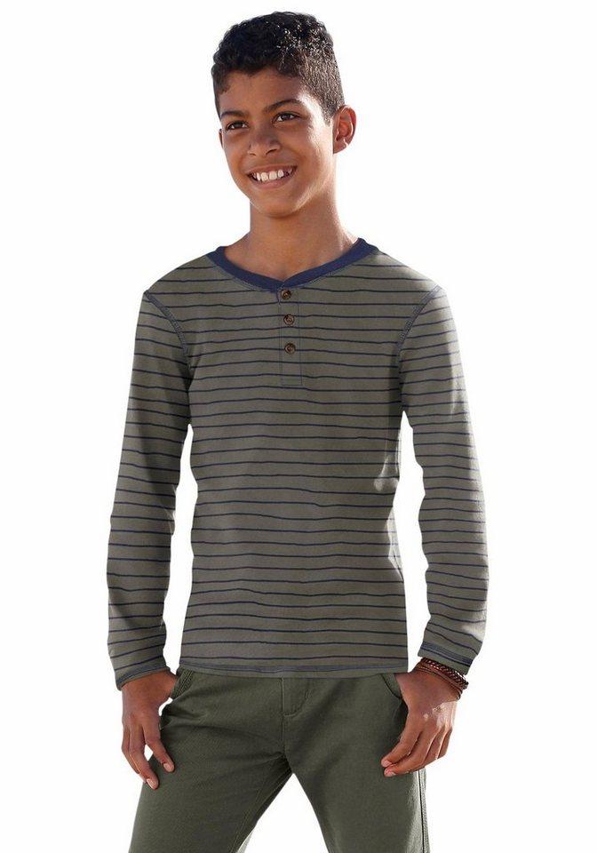 Arizona Langarmshirt mit Knopfleiste in khaki