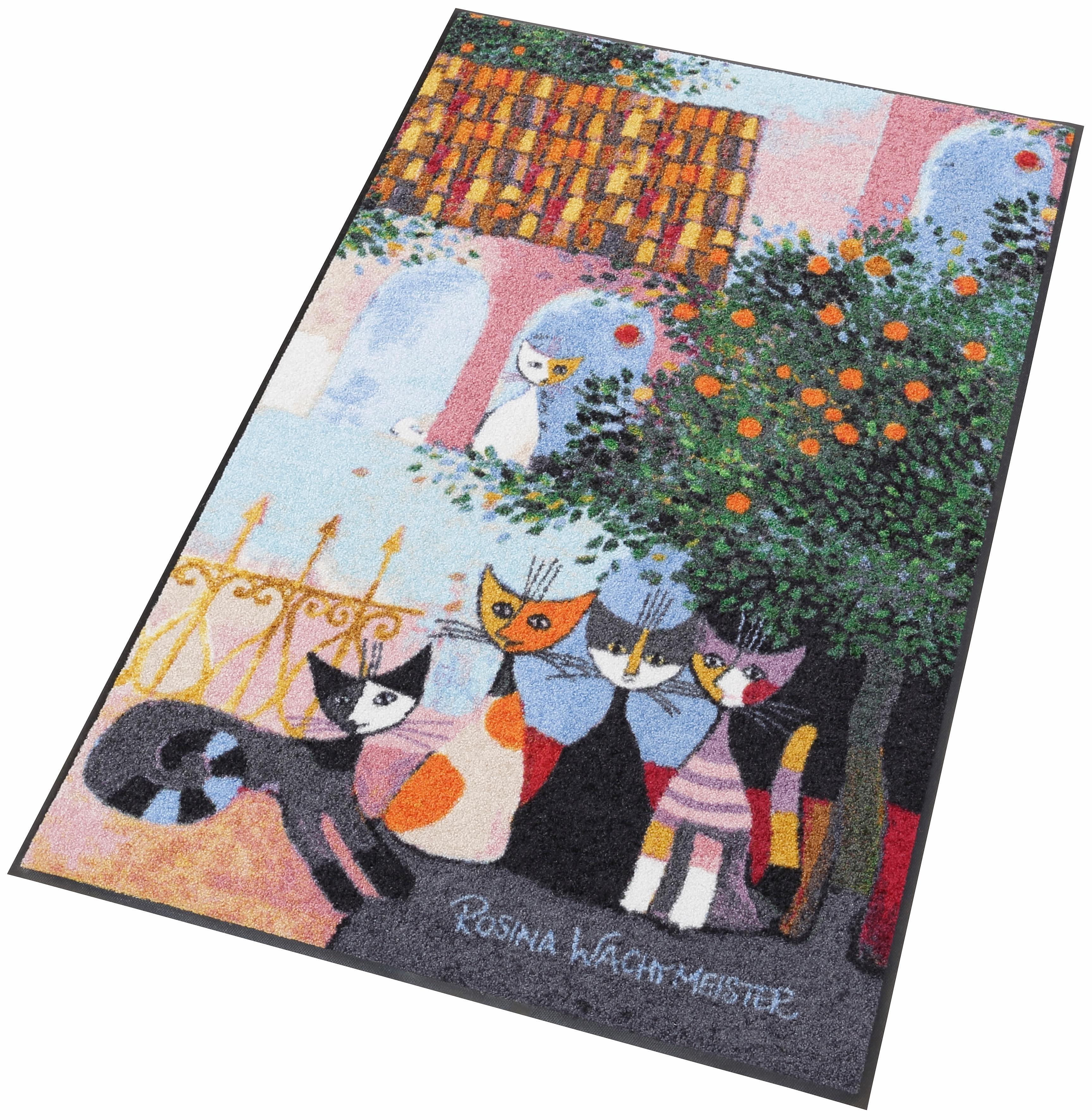 Läufer, Rosina Wachtmeister, »Vita Familiare«, Waschbar, In- und Outdoor, mit Katzenmotiv