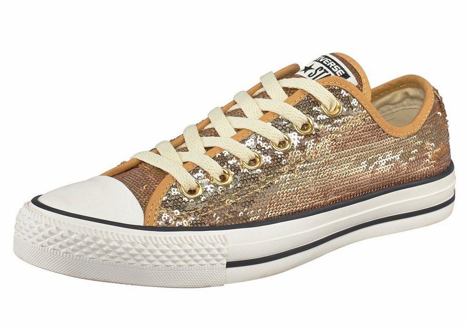 Converse All Star CTAS Sequin Flag Sneaker in Goldfarben
