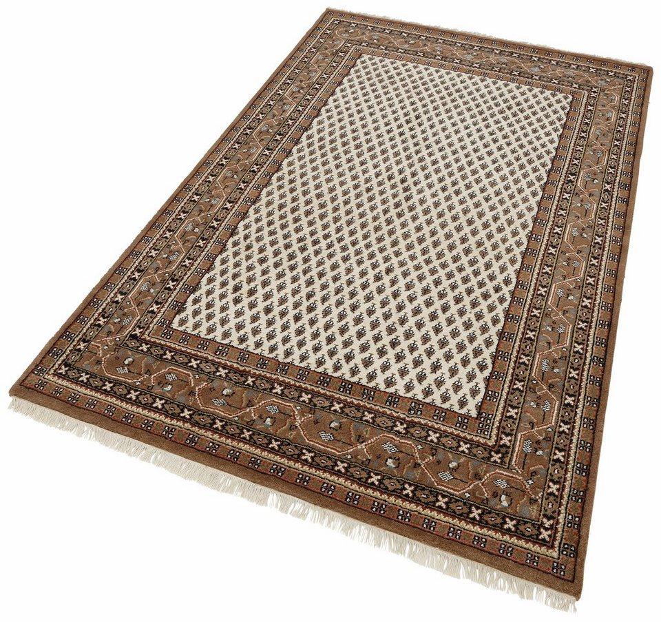 Teppich, Parwis, »Indo Mir Ghalip«, 4kg/m², 75 000 Knoten/m², handgeknüpft, Wolle in creme