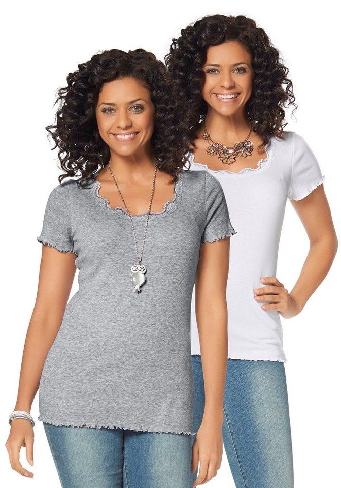 Boysen's T-Shirt mit Spitze (Packung, 1 tlg., 2er-Pack) in grau-meliert+weiß
