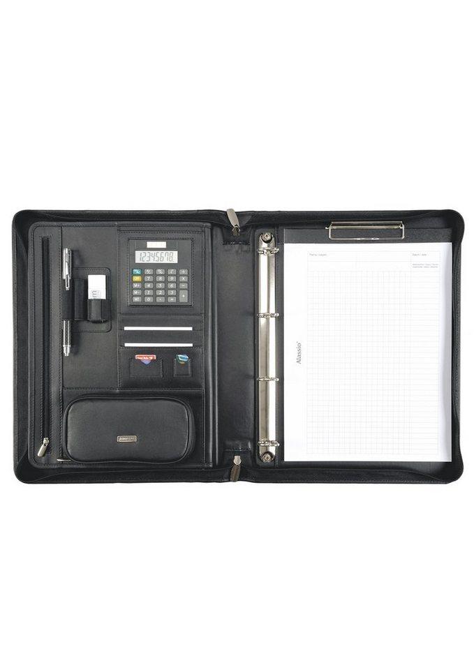 Alassio® Ringbuchmappe aus Nappaleder mit Klemmbrett A4, »Bosa« in schwarz