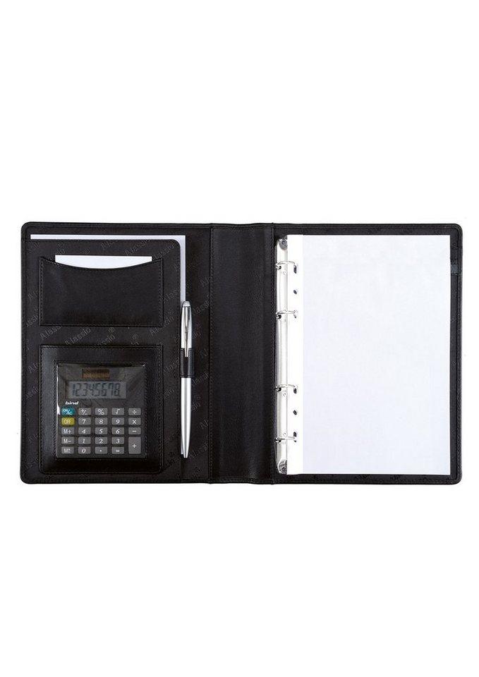 Alassio® Ringbuchmappe aus Nappaleder mit Taschenrechner A5, »Benaco 1« in schwarz