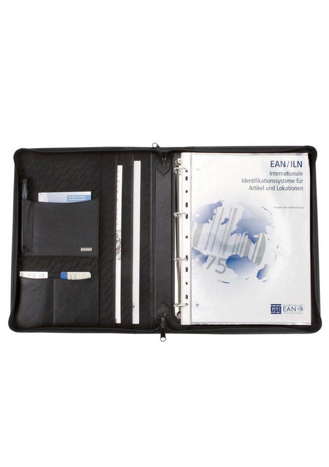 Alassio® Ringbuchmappe aus Nappaleder mit Reißverschluss A4, »Monza« in schwarz