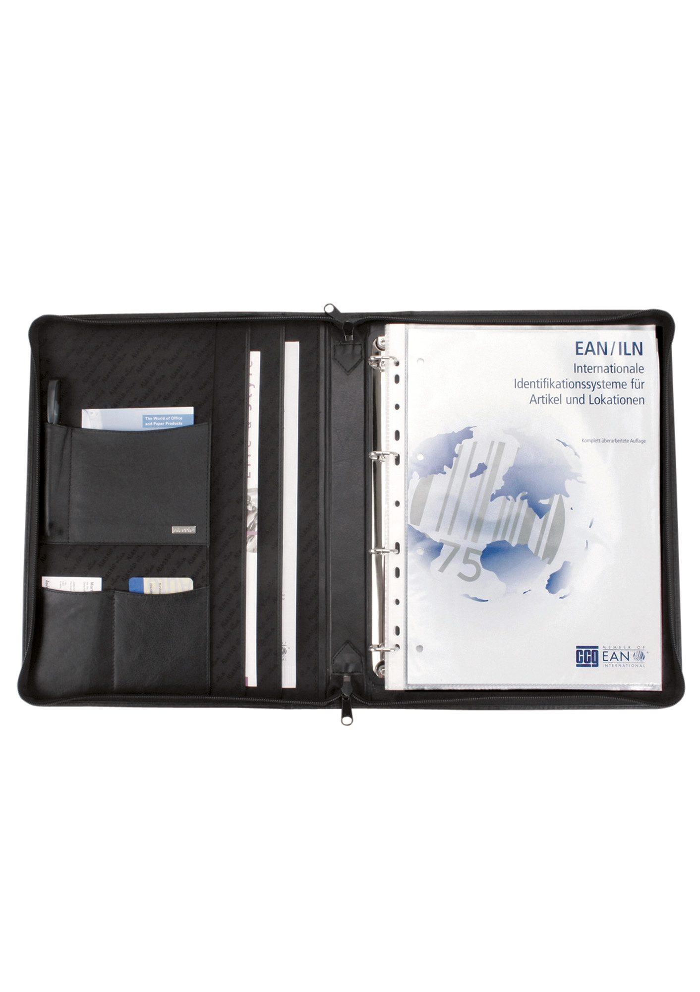 Alassio® Ringbuchmappe aus Nappaleder mit Reißverschluss A4, »Monza«