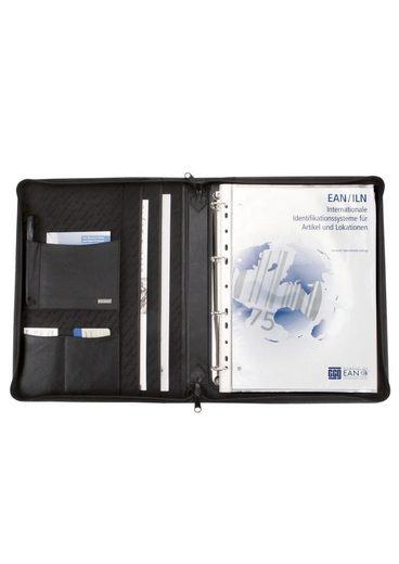 Reißverschluss Aus Mit Alassio® A4 »monza« Nappaleder Ringbuchmappe xgq4SR