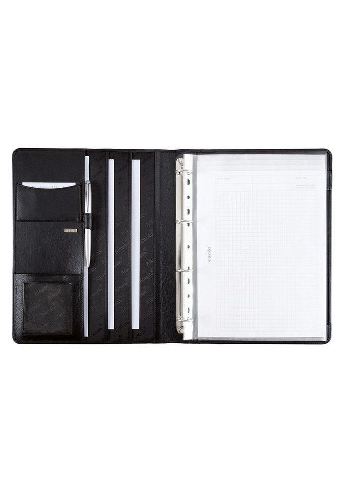 Alassio® Ringbuchmappe aus Nappaleder A4, »Cremona« in schwarz