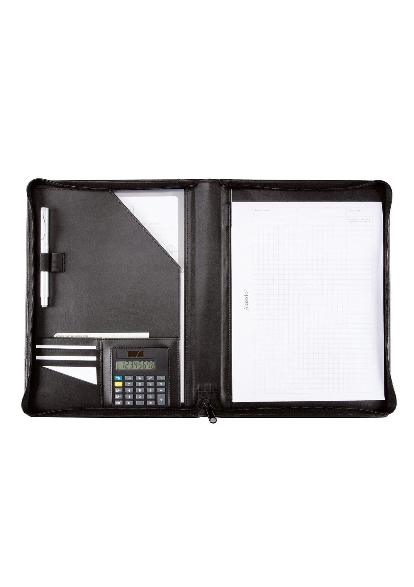 Alassio® Schreibmappe aus Nappaleder mit Reißverschluss A4, »Catana«