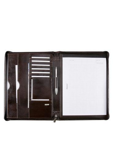 »monaco« Schreibmappe A4 Leder Aus Mit Alassio® Reißverschluss YcqgdgO