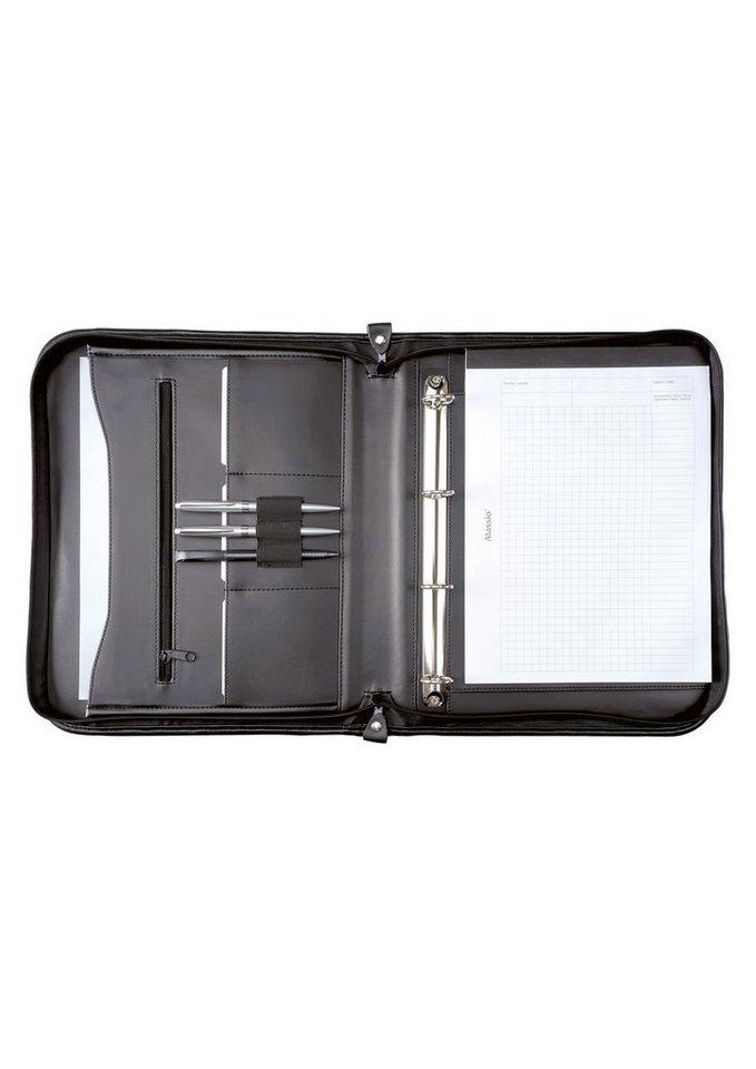 Alassio® Ringbuchmappe mit Reißverschluss A4, »Limone« in schwarz
