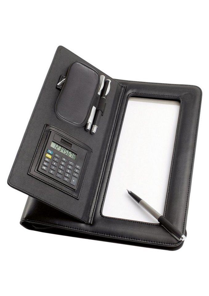 Alassio® Ringbuchmappe aus Nappaleder mit Reißverschluss A4, »Imola« in schwarz