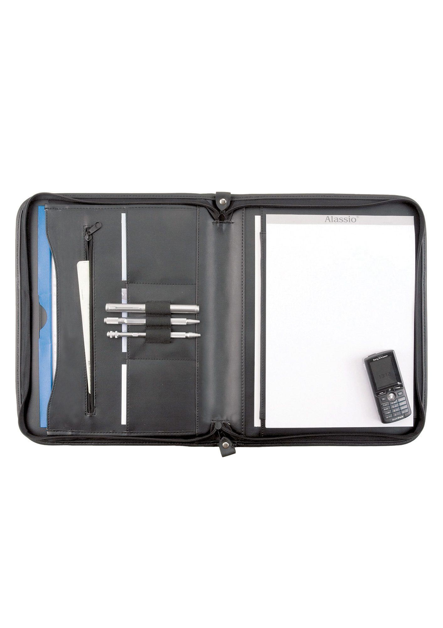Alassio® Schreibmappe aus Leder mit Reißverschluss A4, »Milano«
