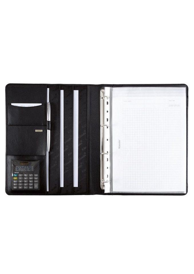 Alassio® Ringbuchmappe aus Nappaleder mit Taschenrechner A4, »Cremona« in schwarz