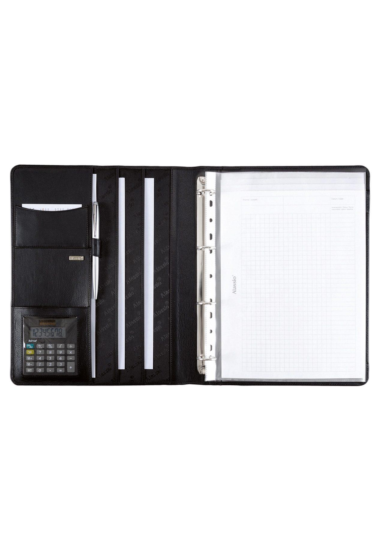 Alassio® Ringbuchmappe aus Nappaleder mit Taschenrechner A4, »Cremona«