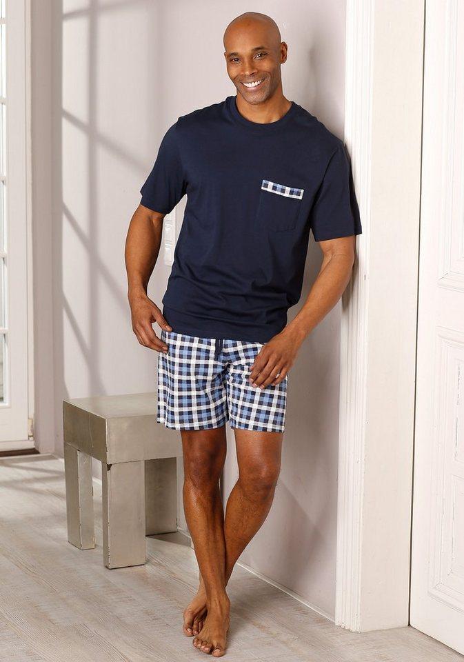 Schiesser Shorty Pyjama kurz in 1x marine-blau kariert