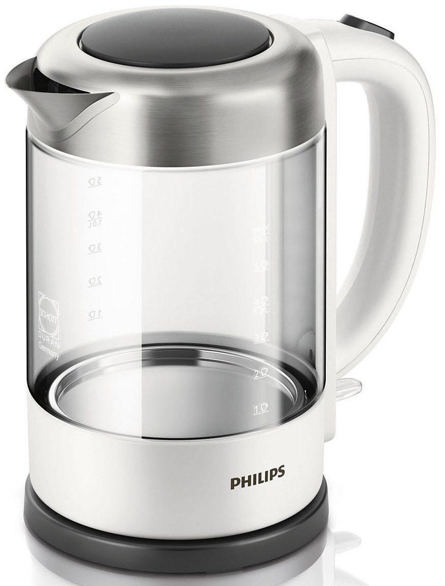 Philips Wasserkocher HD9340/00 Viva Collection Glas-Edelstahl, 1,5 Liter, 2200 Watt, weiß