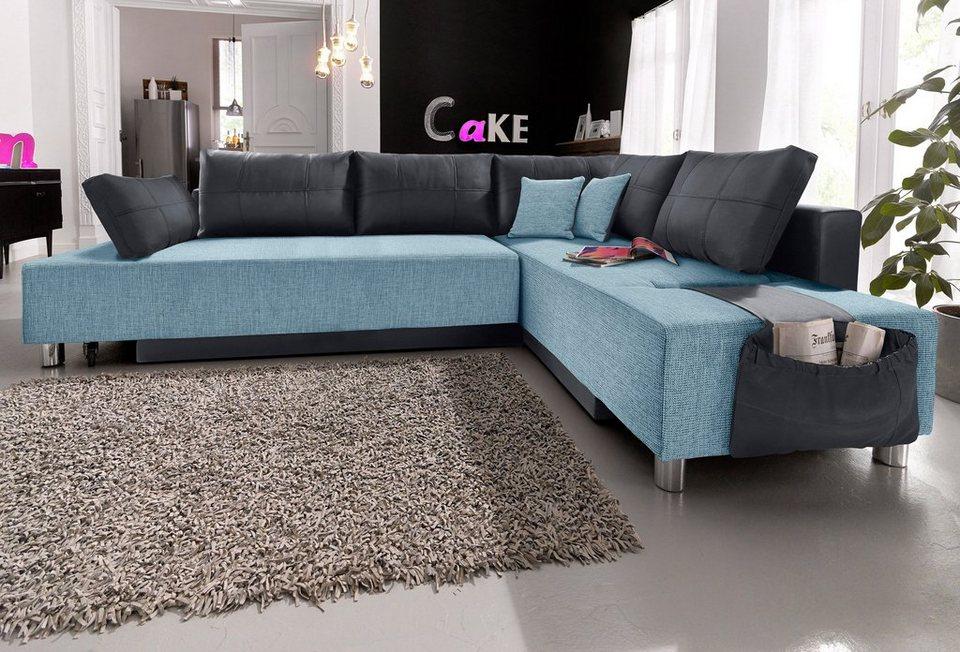 polsterecke mit bettfunktion inkl hocker kaufen otto. Black Bedroom Furniture Sets. Home Design Ideas
