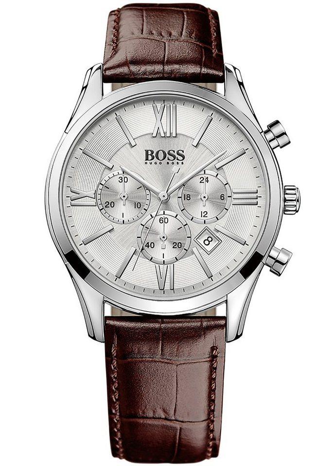 Boss Chronograph »AMBASSADOR ROUND CHRONO, 1513195« in braun