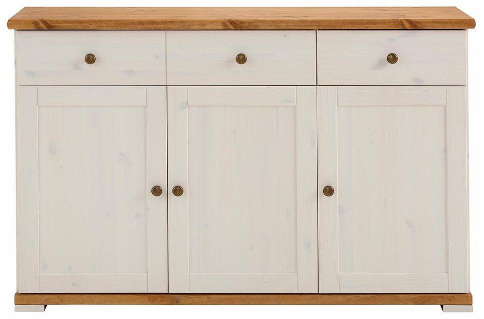 Home affaire Sideboard »Ida«, Breite 125 cm in weiß/honigfarben