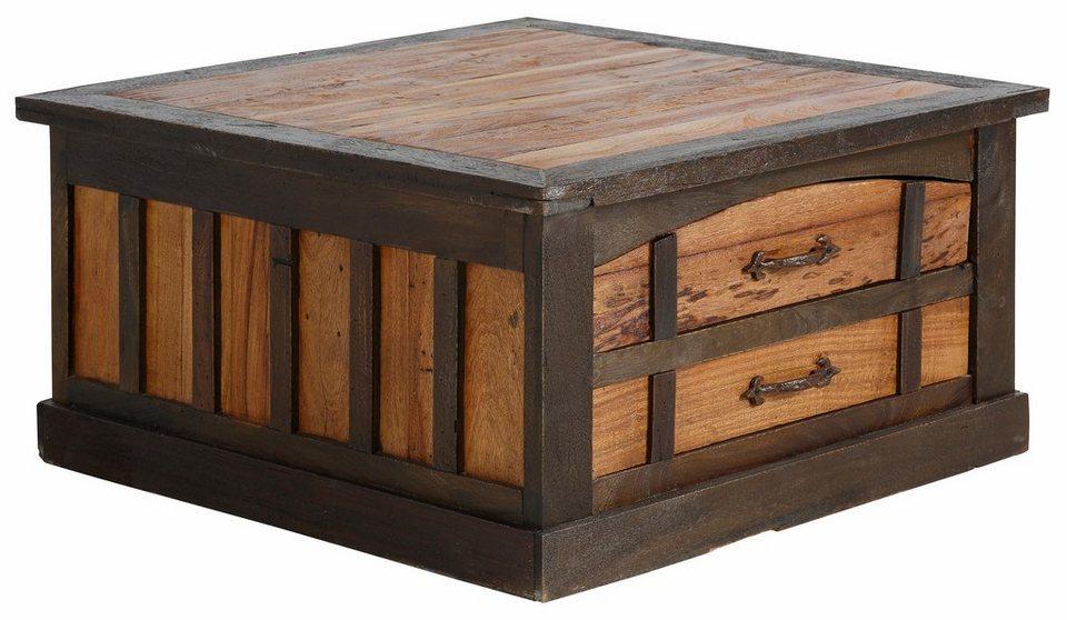 Premium collection by Home affaire Couchtischtruhe »Fortezza«, Breite 90 cm. in natur/dunkel gebeizt