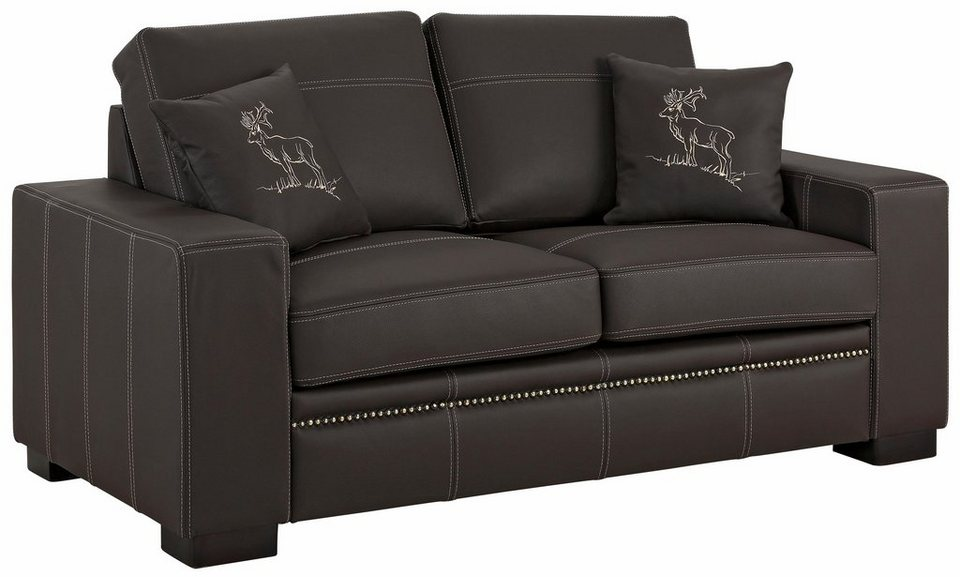 premium collection by home affaire 2 sitzer sofa hunter kissen mit handgesticktem hirsch. Black Bedroom Furniture Sets. Home Design Ideas