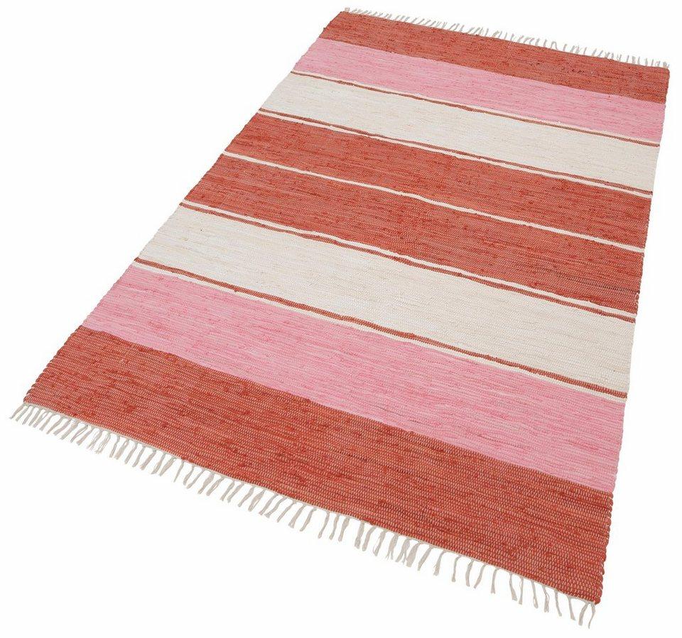 Teppich, Theko, » Stripe Cotton«, handweb Fleckerl in rot