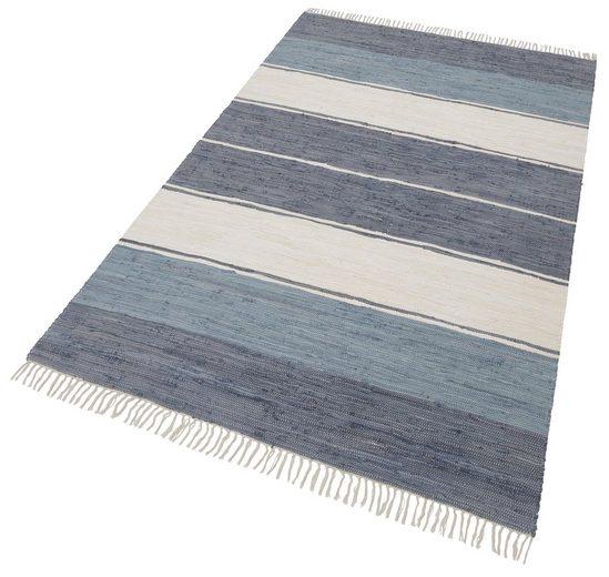 Teppich »Merle«, Home affaire, rechteckig, Höhe 5 mm, Flachgewebe, handgewebt, beidseitig verwendbar, mit Fransen, Wohnzimmer