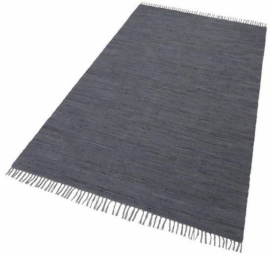 Teppich »Happy Cotton«, THEKO, rechteckig, Höhe 5 mm, Flachgewebe, reine Baumwolle, handgewebt, mit Fransen, Wohnzimmer