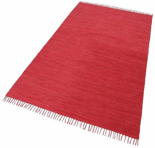 Teppich »Happy Cotton«, THEKO, rechteckig, Höhe 5 mm, Flachgewebe, reine Baumwolle, handgewebt, mit Fransen, Wohnzimmer, Kundenliebling mit 4,5 Sterne-Bewertung!