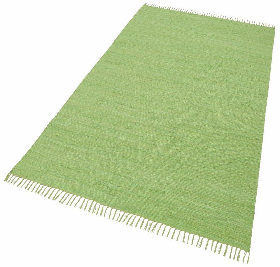 Teppich, Theko, »Happy Cotton«, Melange-Effekt, handgewebt, reine Baumwolle in grün