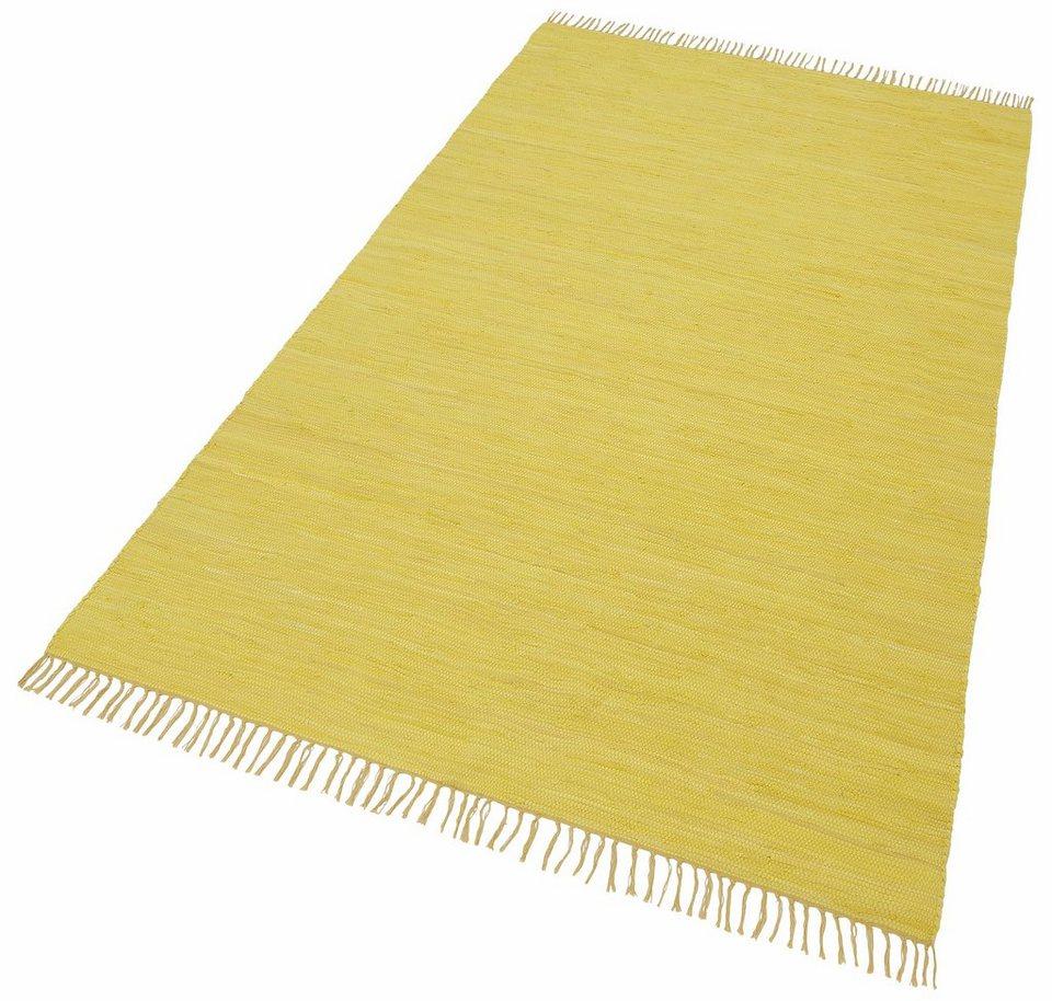 Teppich, Theko, »Happy Cotton«, Melange-Effekt, handgewebt, reine Baumwolle in gelb