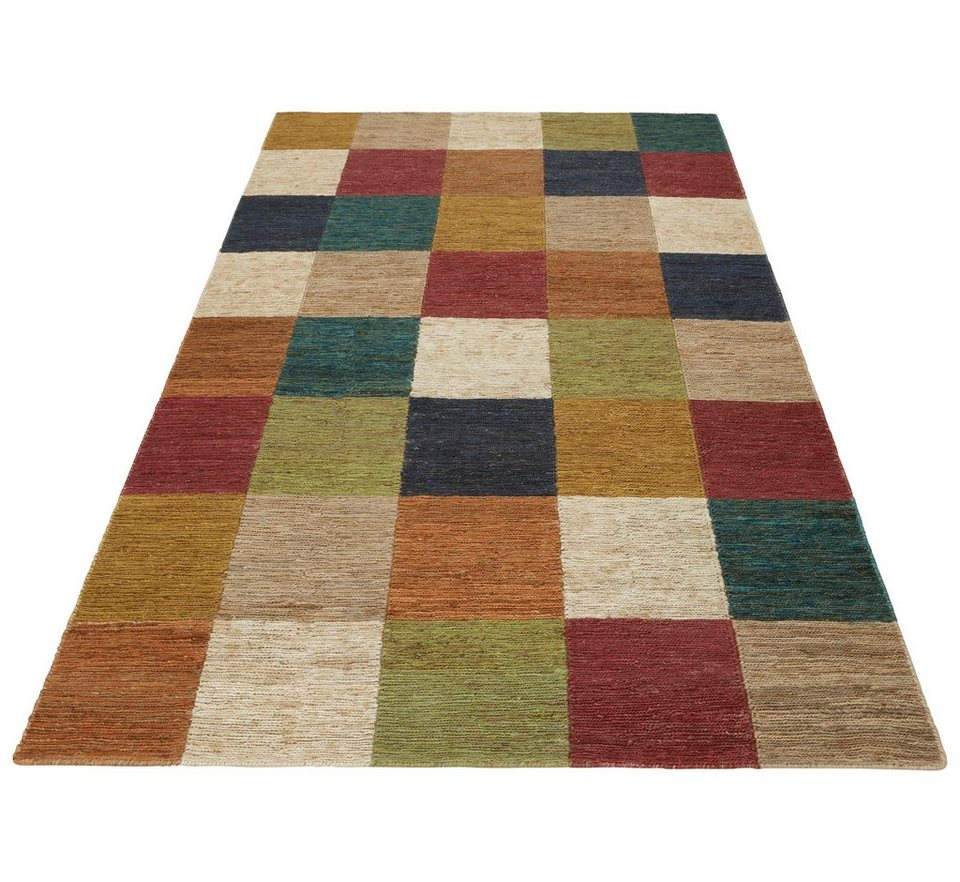 Jute-Teppich, Home affaire Collection, »Check«, handgewebt in multicolor