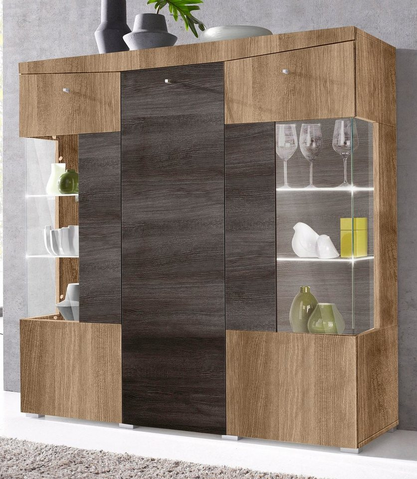 Highboard, Breite 132 cm in satin-nussbaum/Darkwood