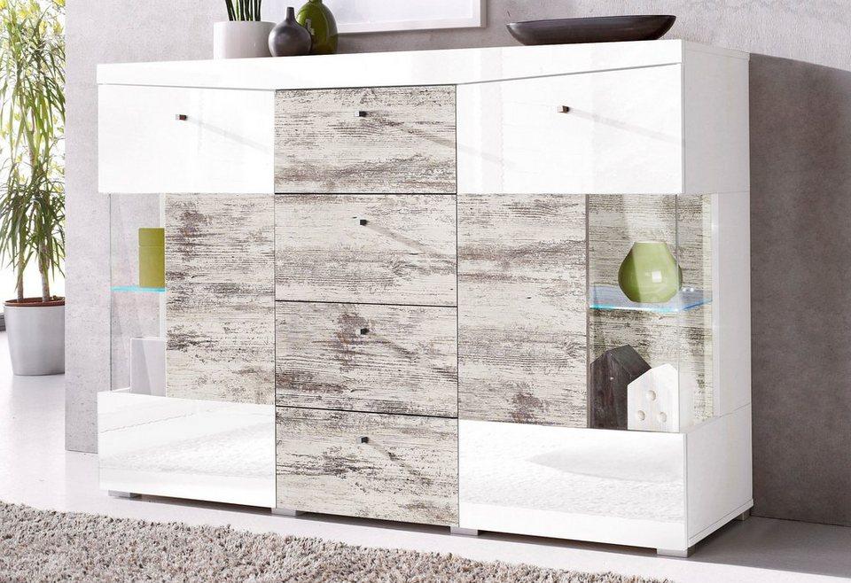 Sideboard, Breite 132 cm in weiß/antikweiß gewischt