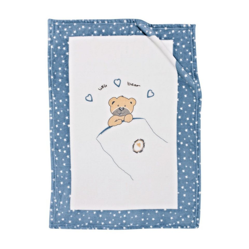 ALVI Babydecke Little Bear 75 x 100 cm in blau