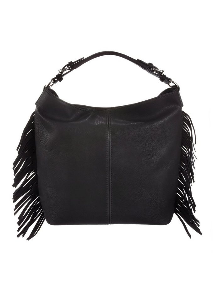 Bruno Banani Hobo Bag mit seitlichen Fransen in schwarz