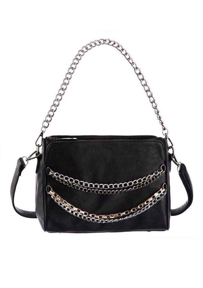 Handtasche mit Ketten verziert in schwarz