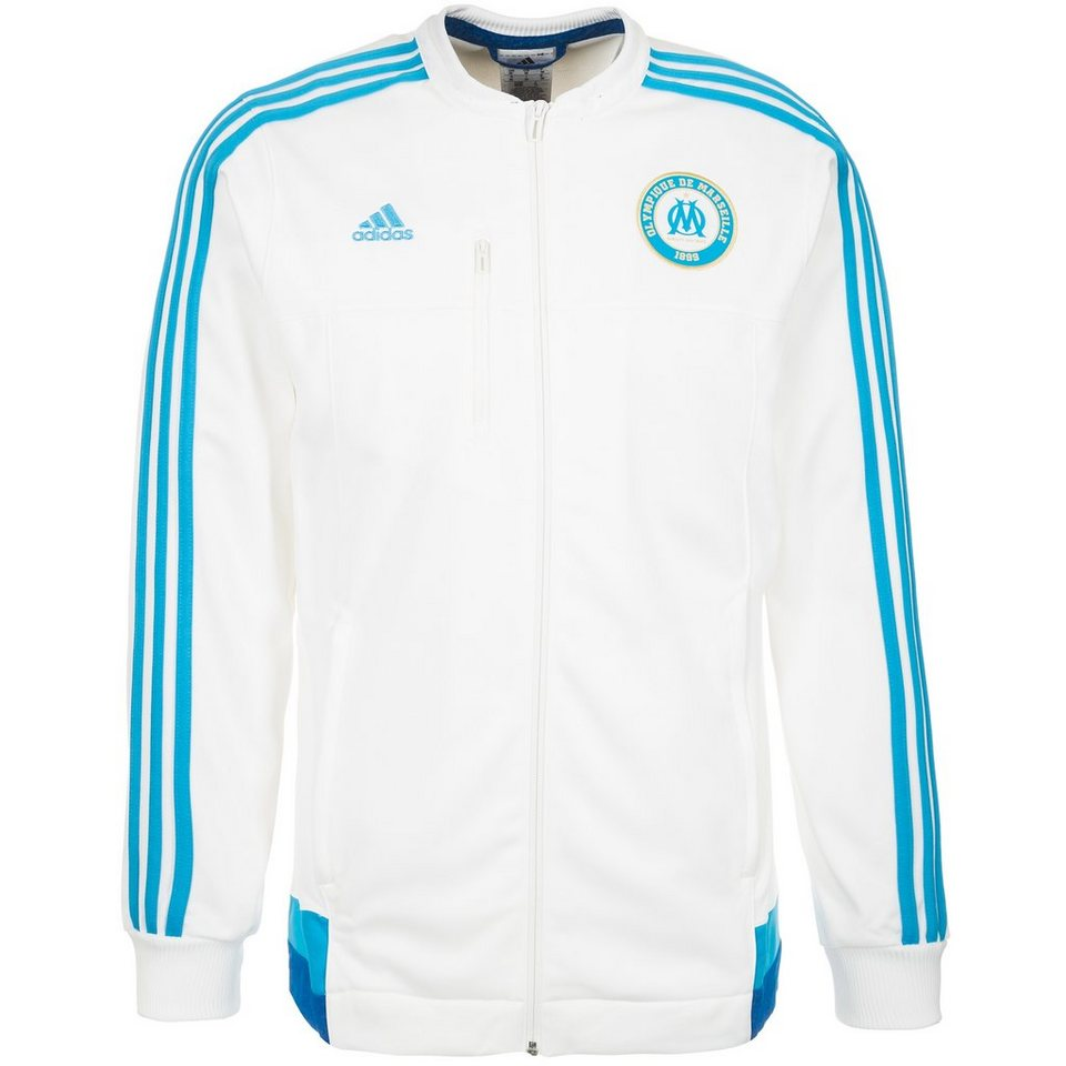 adidas Performance Olympique Marseille Anthem Jacke Herren in weiß / hellblau